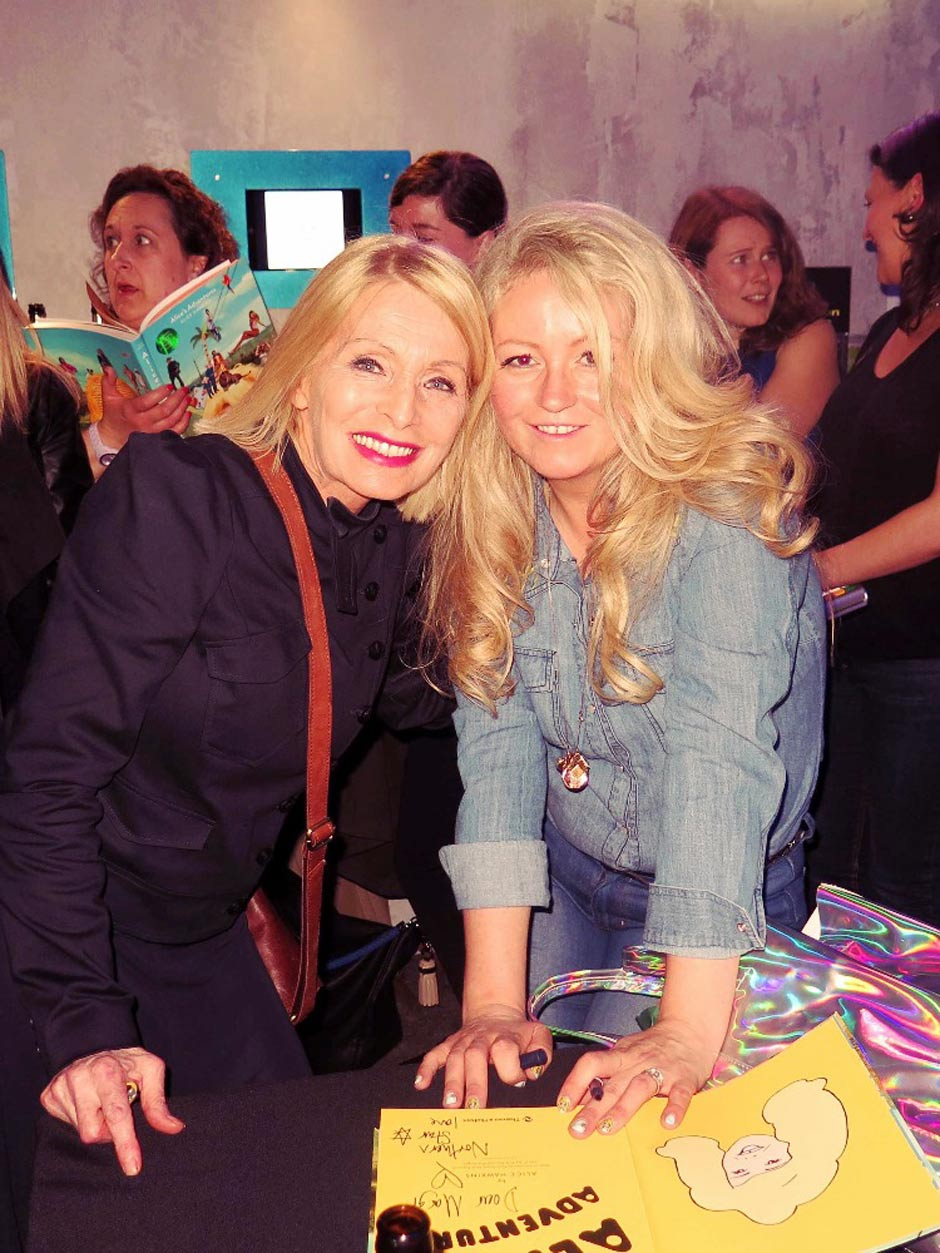 Alice Hawkins Photographer with Margi Clarke at the 'Alice's Adventures' book launch in Soho