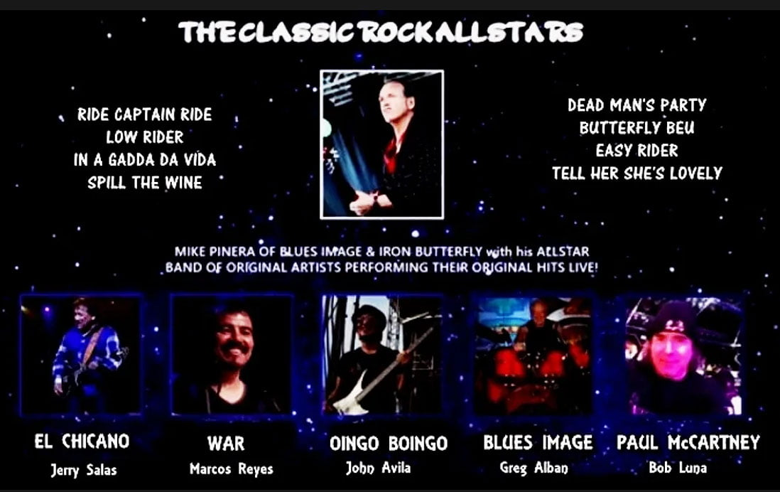 The Classic Rock All Stars - Mike Pinera of Iron Butterfly and Blues Image, Jerry Salas, Marcos Reyes, John Avila, Greg Alban, Bob Luna from Paul McCartney | Classic Rock All Stars Contact | Contact Classic Rock All Stars